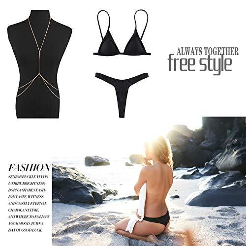 Triangolo piscina da Bikini mare M Push donna Donna Pezzi JewelryWe Sexy Nero Up Due Halterneck donna Costumi bagno brasiliana Beachwear e qUwCEzxFn4