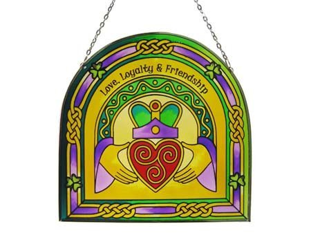 Stained Glass Hanging Decoration with Claddagh and Triskel