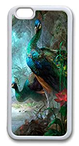 VUTTOO Painted Peacocks Custom iphone 6 plus 5.5inch Case Cover TPU White