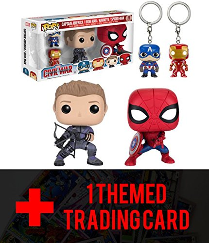 Funko POP Marvel: Civil War Hawkeye Spiderman, Iron Man & Captain America Keychain Bundled with 1 Themed trading card