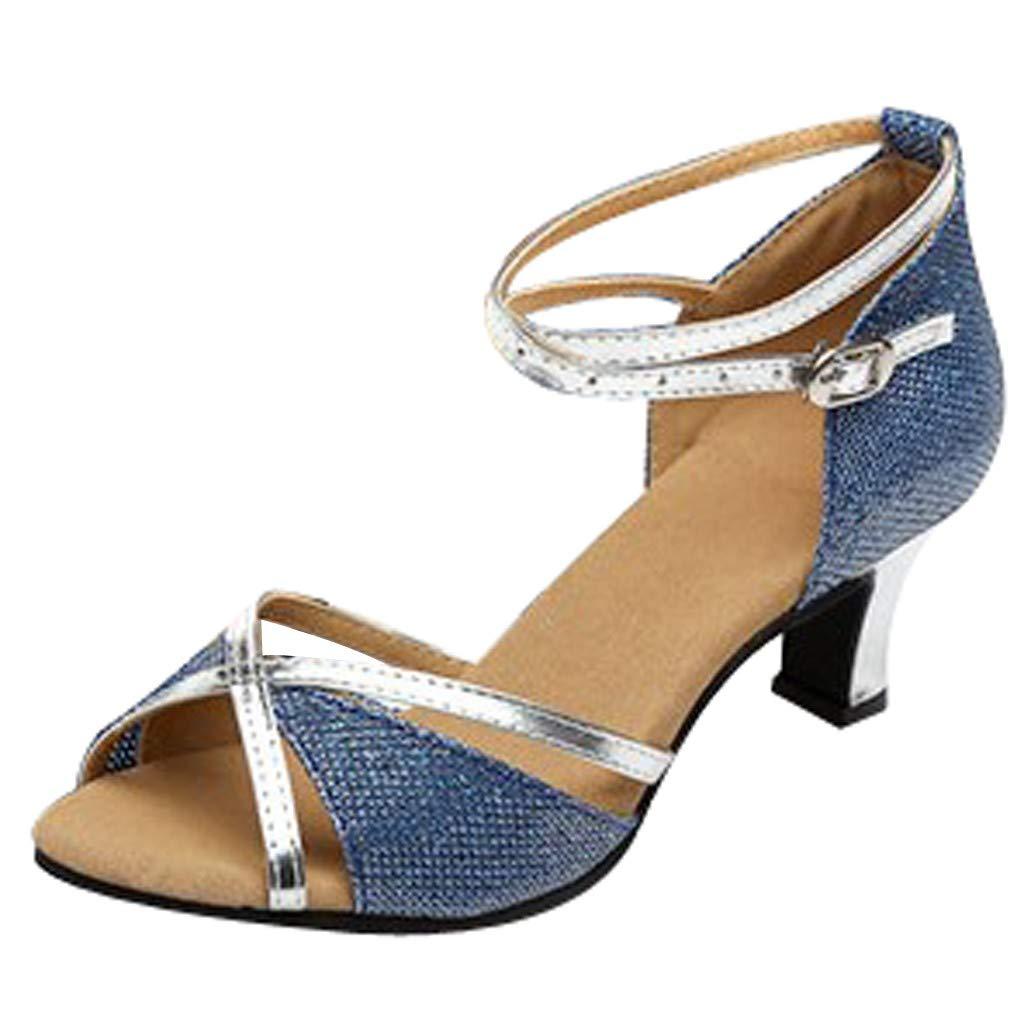 kaifongfu Women's Fish Mouth Adult Latin Dance Shoes High School with Soft Bottom Square Dance Shoe(Blue,35)
