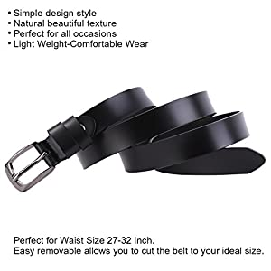 JasGood Skinny Jeans Leather Belt for Women Luxury Dress Belts With Nice Keychain,Black,43.3Inch