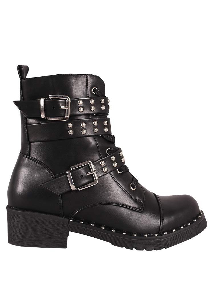 Ermonn Womens Rivet Studded Boots Lace up Double Buckle Strap Military Combat Boots