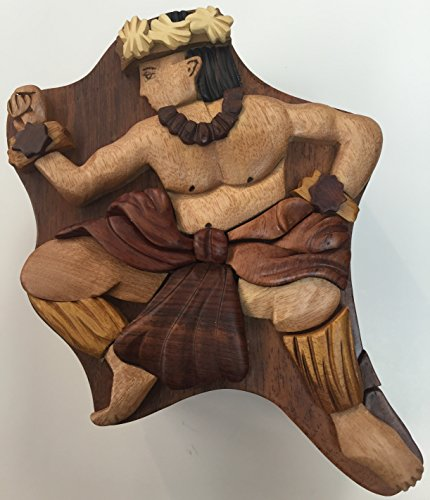 Wooden Hula Boy Puzzle Jewelry Box Design by Tiki