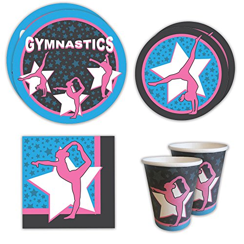 Gymnastics Standard Party Packs (65+ Pieces for 16 Guests!), Gymnastics Party Supplies, Birthday, Decorations, (Gymnastics Birthday Party Invitation)