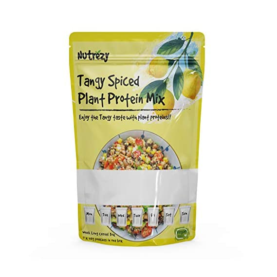 Nutrezy Healthy & Tasty Tangy Spiced Plant High Protein Breakfast Mix (40G X 7 Pouches Per One Box)