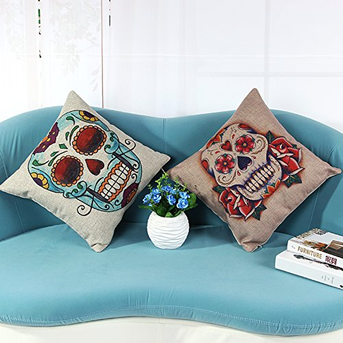 L&J.ART 2 PCS 18'' Vintage Colorful Skull Mexican Day of the Dead Linen Throw Pillow Cushion Cover Covers
