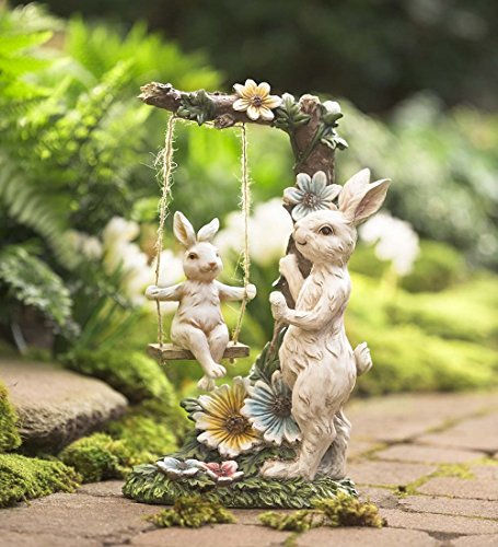 Indoor Outdoor Mama Bunny with Baby on Swing Figurine Resin Yard Garden Animal Decor Sculpture Ornament 8.25 L x 6 W x 13.75 (Ornament Animal Statue)