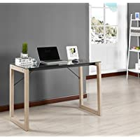 Kings Brand Black Tempered Glass / Natural Wood Home Office Computer Desk