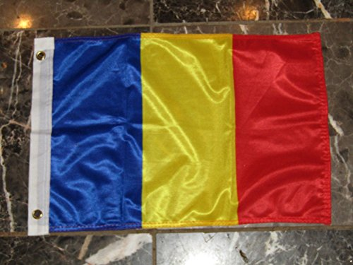 (ALBATROS 12 inch x 18 inch Romania Romanian Rough Tex Knitted Flag Banner Grommet for Home and Parades, Official Party, All Weather Indoors Outdoors)