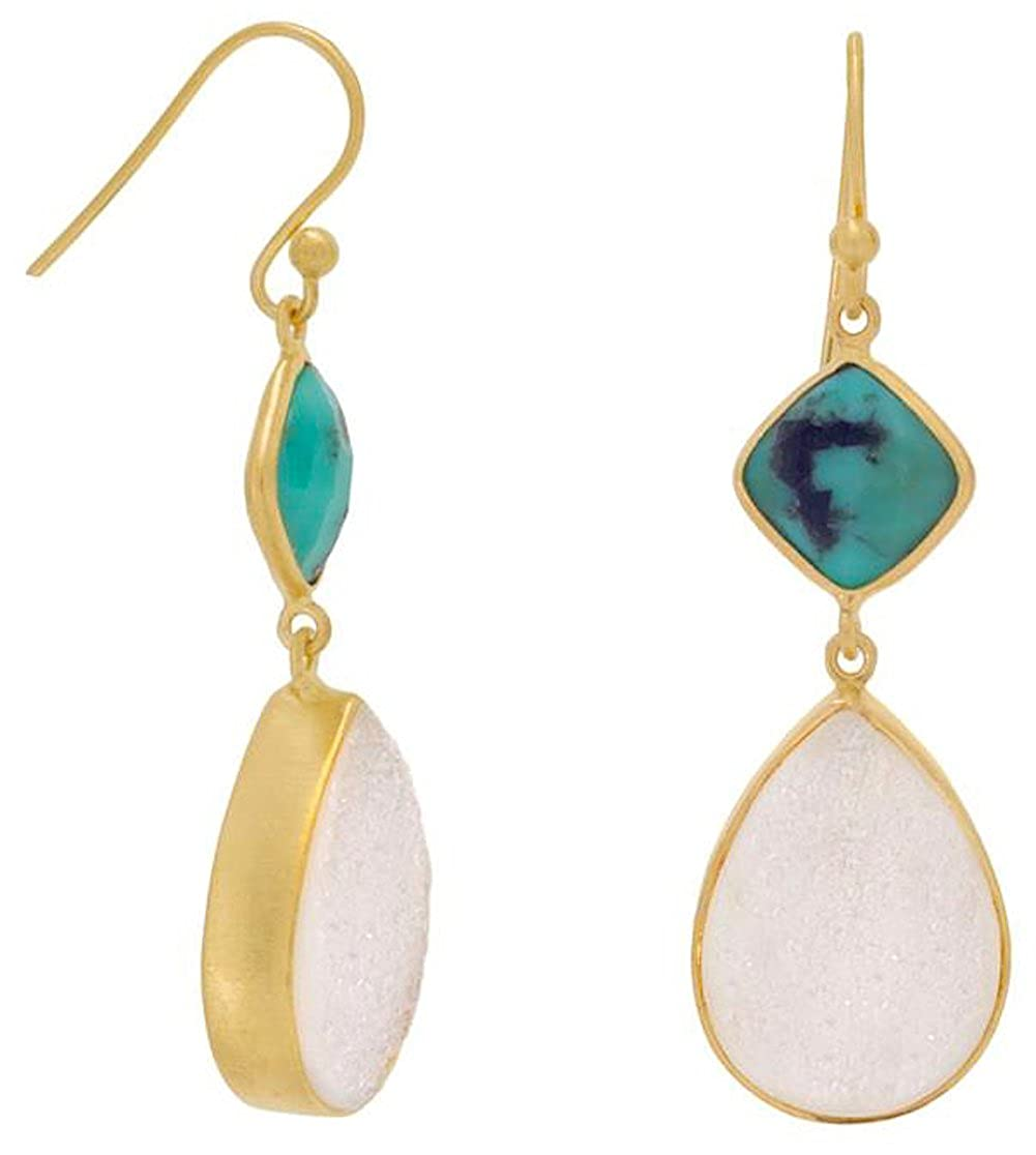 Matte 14K Gold Plated Sterling French Wire Earrings 1-3//8 inch 13x18mm Druzy 10mm Turquoise