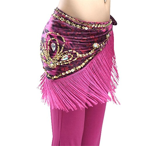 Vogue Style Women Belly Dance Belt Leopard Triangle Dancing Hip Scarf Wrap Waist Chain with Tassels Sequins Skirts Costumes , rose red