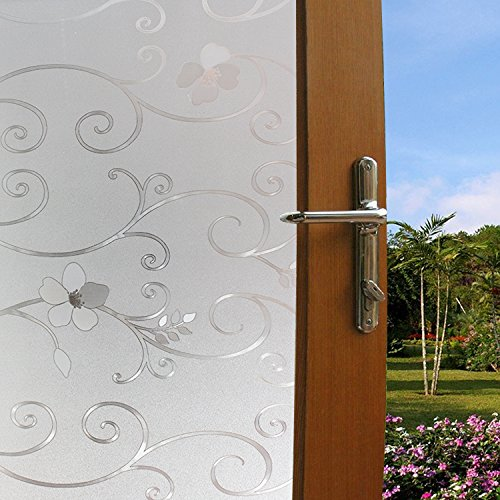 Bloss 3D Etched Lace Window Film No Glue Static Cling Window Film Privacy Protective Film for Glass 17.7