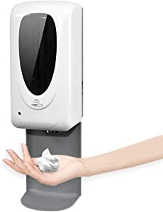 YXX-TECH Automatic Touchless Soap and Hand Sanitizer Dispenser 1000ml Wall Mount with Drip Tray - Suitable for Office, Restaurant, Family and Public Places(Foam)