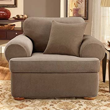 living room chair slipcovers. Sure Fit Stretch Pique 3 Piece  Chair Slipcover Taupe SF37941 Amazon com