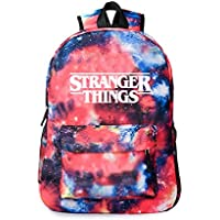 Stranger things peripheral schoolbag canvas bag star sky double shoulder bag men's and women's leisure bag (Star red-2)