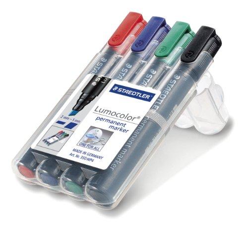 Staedtler 350 WP4 Permanentmarker Lumocolor , nachfüllbar, Staedtler Box mit 4 Farben