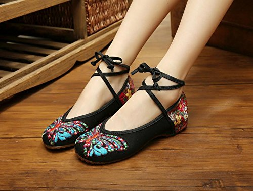 WXT Zapatos bordados, lencería, estilo étnico, hembrashoes, moda, cómodo Black