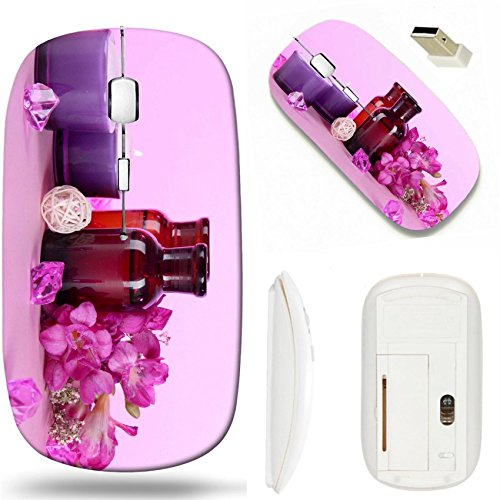 MSD Wireless Mouse White Base Travel 2.4G Wireless Mice with USB Receiver, Noiseless and Silent Click with 1000 DPI for Notebook, pc, Laptop, Computer, mac Book Design 19338125 Spa Oil and Freesia on