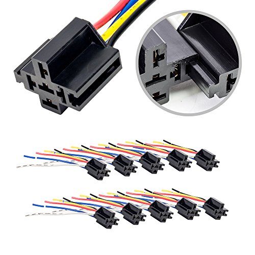 - ONLINE LED STORE 10 Pack - Bosch Style 12V DC 5-PIN SPDT Interlocking Relay Socket Harness Base (with Wires)