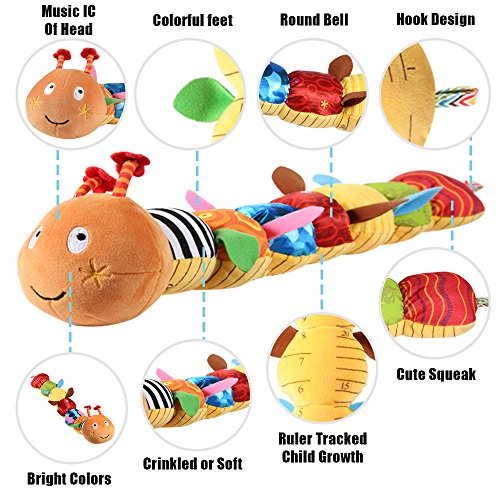 LIGHTDESIRE Musical Toy Caterpillar [Newest] Crinkle Rattle Soft with Ring Bell Toddler Plush Toy for Preschool Kid by LIGHTDESIRE (Image #1)