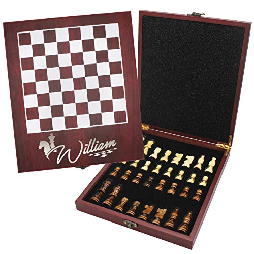 Custom Engraved Travel Chess Set Gift for Kids and Adults - Personalized Chess Game Board with - Game Board Personalized