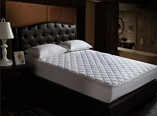 HOME ELITE 100% Slick Fiberfilled Down Alternative Fitted Mattress Pad, QUEEN