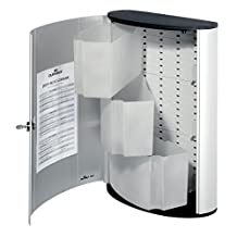 DURABLE 15-3/4 x 11-3/4 x 4-5/8 Inches First Aid Cabinet with Swing-Out Bins and Key Lock, Brushed Aluminum/Silver (DBL197323)