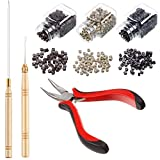 Hair Extension Kit Pliers Pulling Hook Bead Device Tool Kits and 1500 Pieces Silicone Lined Micro Rings (Black, Blonde and Brown Beads)