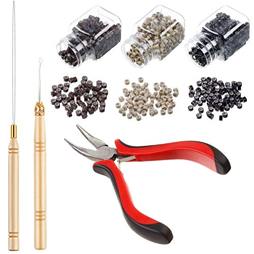 Hair Extension Kit Pliers Pulling Hook Bead Device Tool Kits and 1500 Pieces Silicone Lined Micro Rings (Black, Blonde and Brown Beads) ()