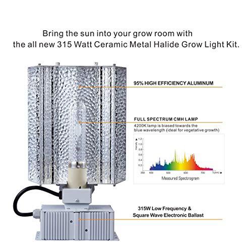 (CDMALL 315W CMH CDM Grow Light 3100K 4200K Lamp Ceramic Metal Halide Grow Light System Kits for Indoor Plants Includes 315 Watt CMH Bulbs (4200K, 315W Open Fixture))