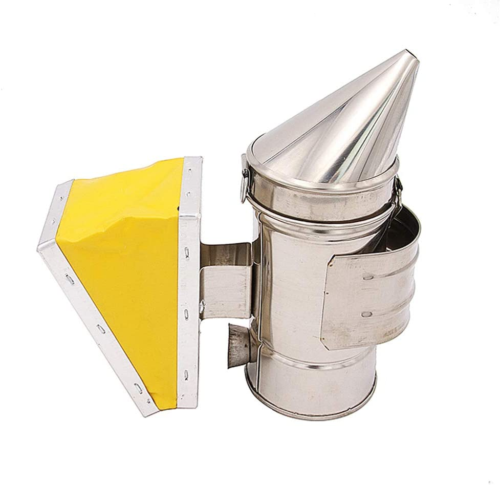 Ahumador de Colmena,Fumador de colmena abeja Equipo de apicultura de fuelle amarillo Smoke Bee para apicultor Cámara de calor de acero inoxidable