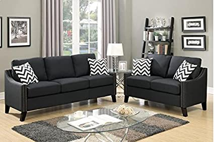 Fine Amazon Com Poundex Taide 2 Pc Black Polyfiber Sofa Set Creativecarmelina Interior Chair Design Creativecarmelinacom