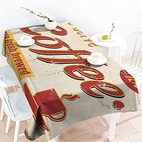 Retro,Wholesale tablecloths Tin Rusty Faded Fresh Brewed Coffee Print from Old Days Fifties Style Art Work 54