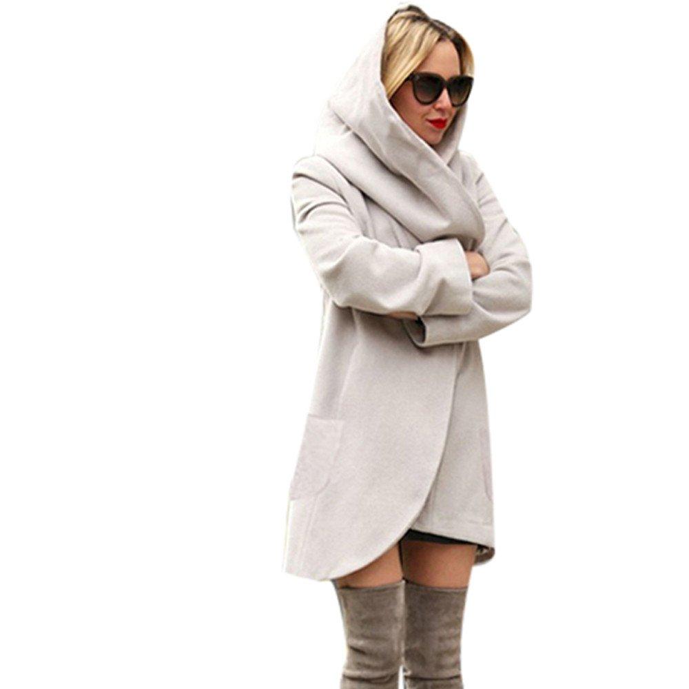 Reaso Femme Manteaux à Capuche Longue Sweatshirt Mode Gilet Hiver Hoodie Veste Jacket Casual Outwear Manches Longues Zipper Loose Coat