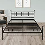 Best Price Mattress BP-ESFBF-Q 12' Metal Platform Bed Frame [Model H] Easy Setup w/Headboard (No Box Spring Needed) Queen Black