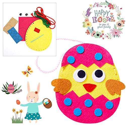 MCpinky Easter Craft Kit, 6PCS DIY Set Including Bunny Easter Basket Craft Hatching Chick Rabbit Bag Foam Egg for Kids Favor Classroom Daycare Homeschool Art Decor
