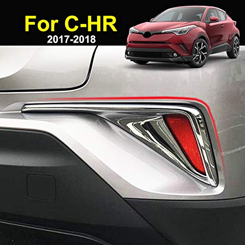 For Toyota C-HR 2017 2018 2019 Chrome Rear Tail Fog Light Foglight Lamp Cover Trim Reflector Bumper Frame Bezel Molding Garnish Surround Protector Decoration Car Styling