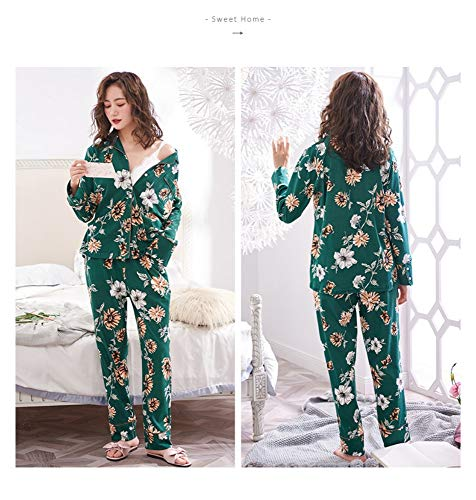 Para Pijama Informal Holgado Hogar Manga Y Mujer Primavera El Algodón Otoño Dos Larga De M L Piezas Baujuxing Pw1Sqxdd