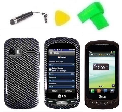 Phone Case Cover Cell Phone Accessory + Extreme Band + Stylus Pen + LCD Screen Protector + Yellow Pry Tool for LG Expression C395C Xpression C395 (Carbon Fiber - Cover Lg Xpression