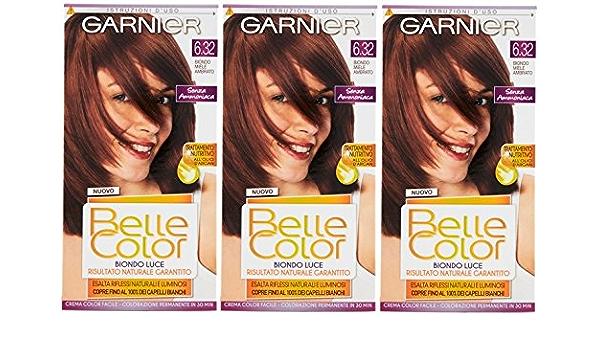 3 x Garnier Belle Color 6.32 ámbar miel Rubio – Tinte ...