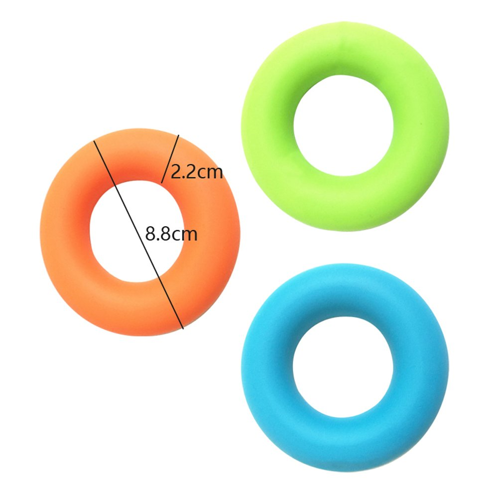 Denshine 3 Pack Hand Grip Best Hand Strengthener Grip Rings, Finger, Hand and Forearm Multiple Resistances, Orange-50lb, Blue-40lb,Green-30lb for Fitness, Rock Climbing and Stress Relief