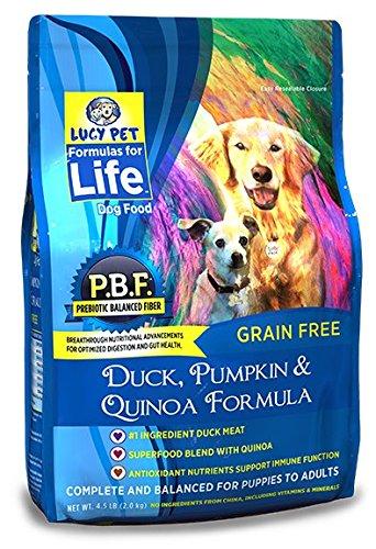 Lucy Pet Formulas Life Duck, Pumpkin & Quinoa Dog Food, 4.5 LB (Natural & Coat California Skin)