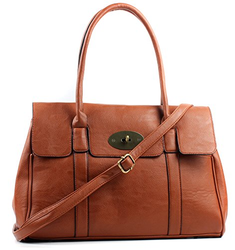 Aossta Faux Leather Large Turnlock Bag Shoulder Handbag Brown