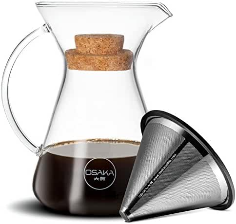 Osaka Pour Over Coffee Brewer - Beautiful Glass Carafe with Stainless Steel Cone Filter.