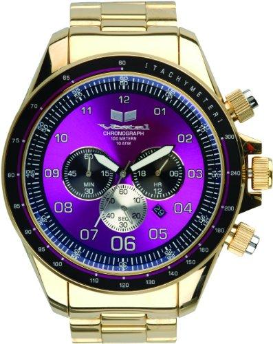 Vestal Men's ZEP016 ZR-3 Chronograph Gold-Tone Purple Dial Watch