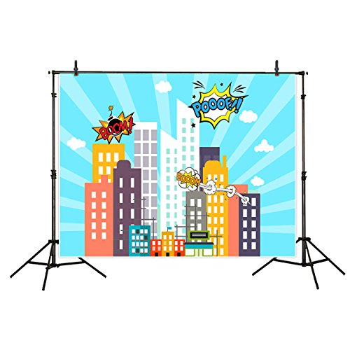 Allenjoy Polyester Photography Backdrops 7x5FT Comic Hero Super Modern City Superhero Theme Background for Children Birthday Party Decoration Photo Studio Photocall (Superhero Wedding Photo)