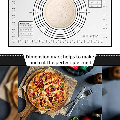 Silicone Baking Mat Non Slip Pastry Mat with Measurement Non Stick BPA Free Baking Mat Sheet for Rolling Dough Counter Cookies Pie, 24 x 16 Inches Black (with 1 Dough Scraper)