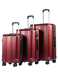 Coolife Luggage Expandable Suitcase PC+ABS with TSA Lock Spinner 20in24in28in (Wine red, 3 Piece Set)