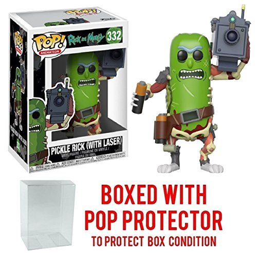 Rick and Morty Pickle Rick with Laser Pop! Vinyl Figure #332 and (Bundled with PROTECTOR CASE)